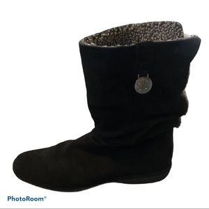Stuart Weitzman black suede slouchy boots 8